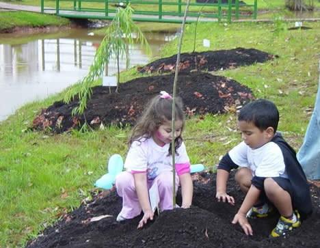 Crianças plantando árvore nativa Foto: Helena Schanzer