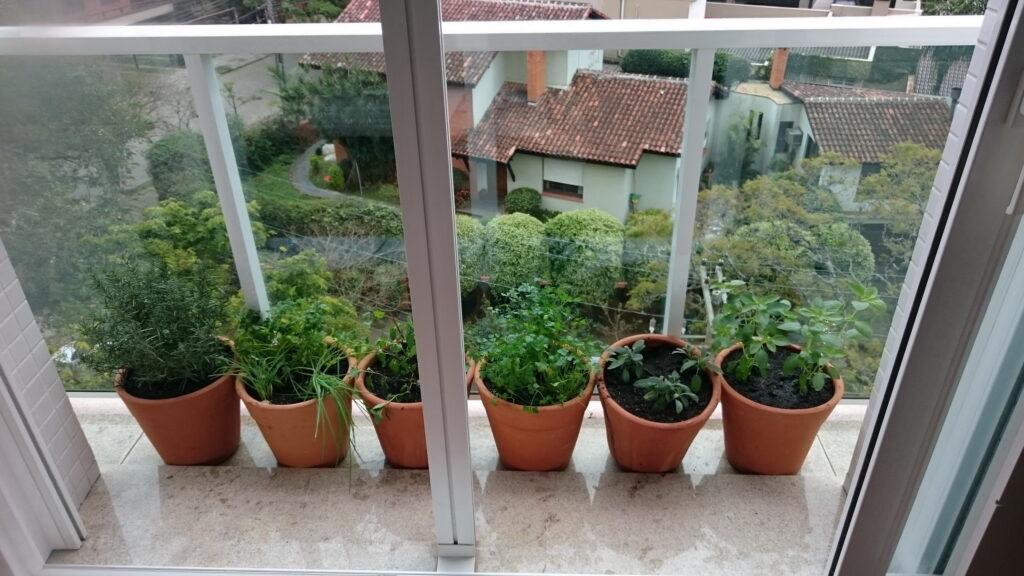 Cultive temperos e hortaliças na sacada