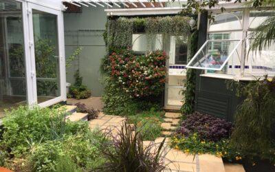 Jardim residencial amplia a área de vegetação usando paredes verdes